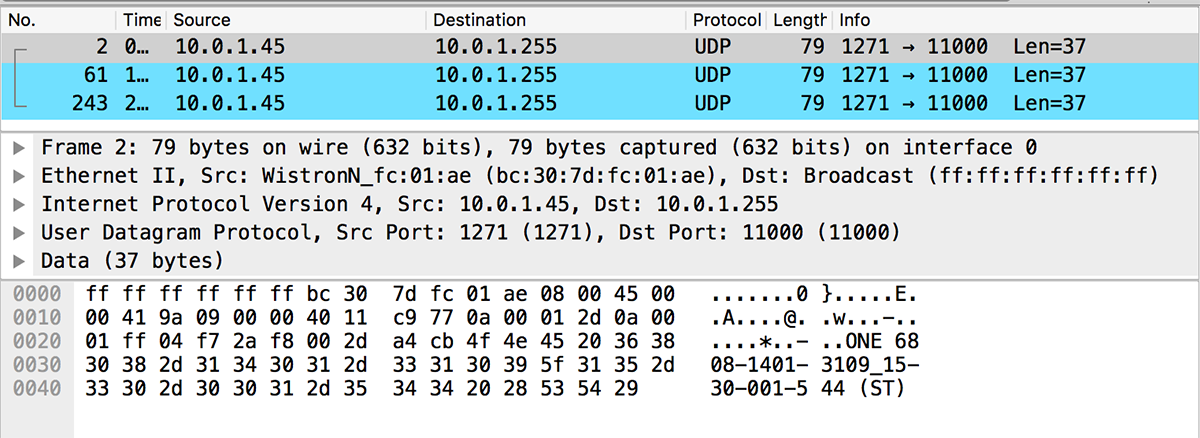 Wireshark netwerk sniffer. Toon alle verkeer van en naar IP 10.0.1.43